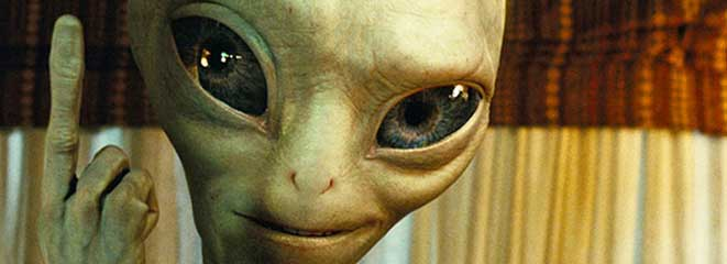 The cheeky Grey Alien from the film 'Paul'