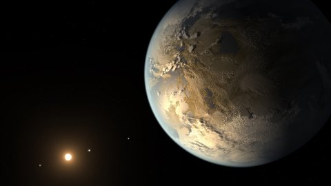 Artist's concept of a rocky Earth-sized exoplanet in the habitable zone of its host star, possibly compatible with Kepler-186f's known data.