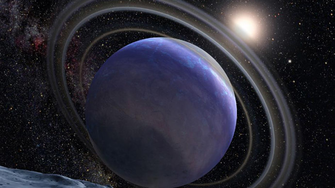 Water, methane and carbon monoxide have been detected in the atmosphere of exoplanet HR 8799 b