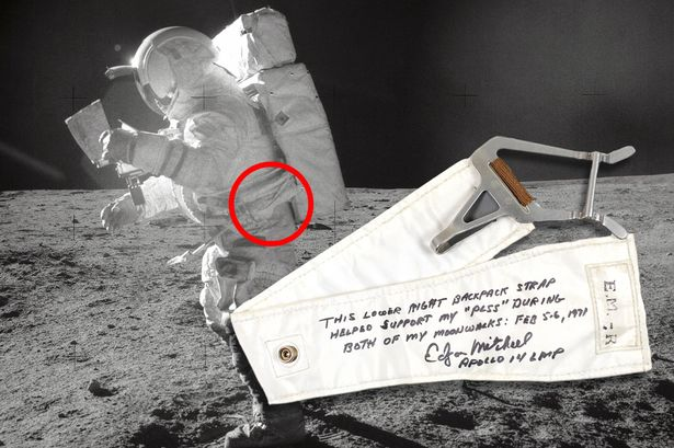 Edgar Mitchell on an moon walk in 1971