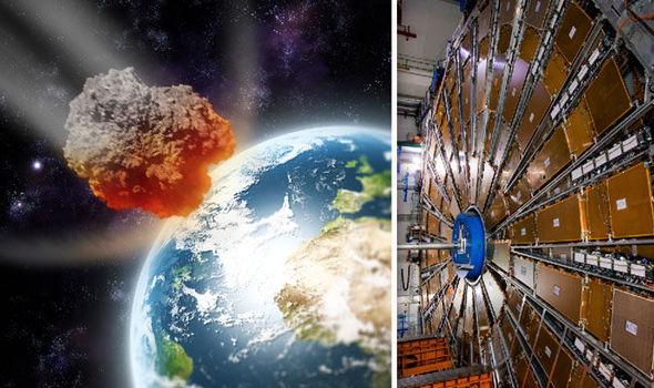 Il collider Hadron Grande e un'interpretazione artistica di un asteroide voce alla terra